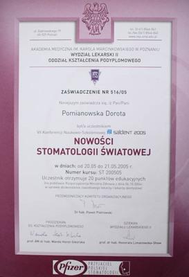 Uczestnictwo w Konferencji Naukowo-Szkoleniowej dotyczącej nowości w stomatologii światowej, która odbyła się w Poznaniu